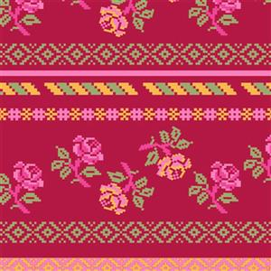 Walls Republic Red & Green Bright Pattern Paste The Wall  Wallpaper