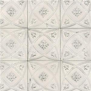 Papier peint à tuiles florale céramique, blanc/gris