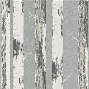 Walls Republic Grey/Silver Contemporary Metallic Paper Birch Wallpaper