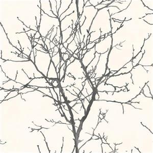 Papier peint à silhouette d'arbre, noir