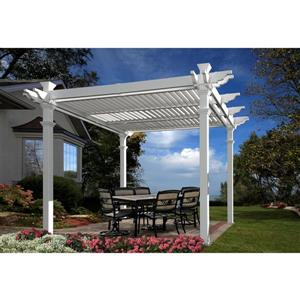 New England Arbors White PVC Avalon Louvered Pergola