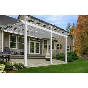 New England Arbors White PVC Valencia Attached Pergola