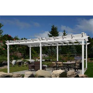 New England Arbors White PVC 12-ft x 24-ft Regency Grande Pergola