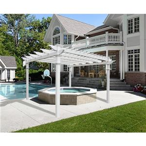 New England Arbors White PVC Regency Pergola