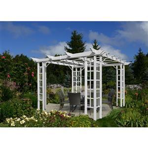 New England Arbors White PVC 10-ft x 10-ft Trellis Pergola
