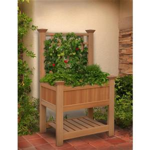 New England Arbors Bloomsbury Planter with Trellis 67.4-In x 36-In Brown Planters