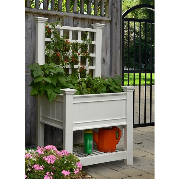 New England Arbors Kingsrow 67.4-in x 36-in x 24-in White Planter