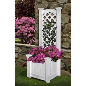 New England Arbors Kensington 63.7-in x 23-in x 20-in White Planter