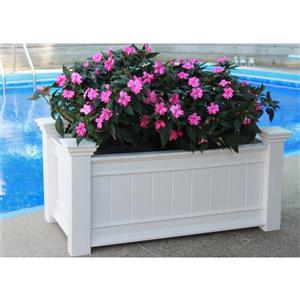 New England Arbors Windsor 21.75-in x 41.75-in x 15.60-in White  Long Planter
