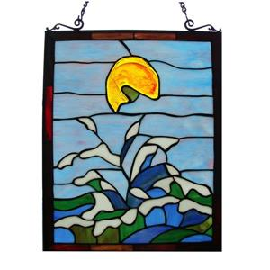 Jumping Fish Tiffany-Style Window Panel Stained Glass
