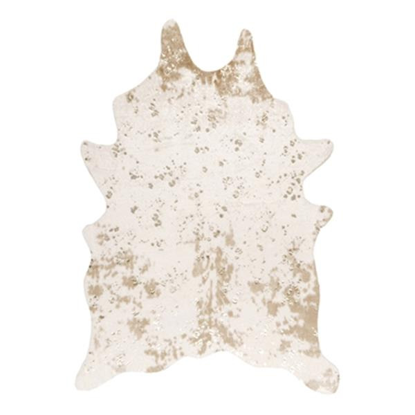 nuLOOM Iraida Faux Cowhide 5-ft x 7-ft Off-White Area Rug