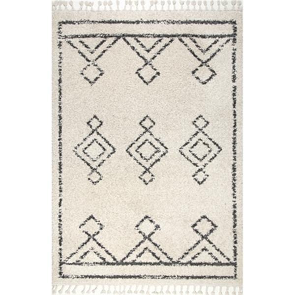 nuLOOM Mackie Moroccan Diamond Tassel Shag 5-ft x 8-ft Off-White Area Rug