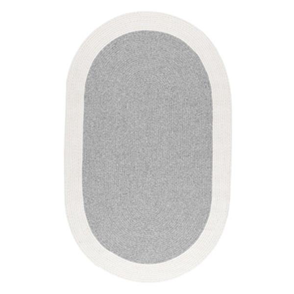 nuLOOM Braided Solid Border Delaine 5-ft x 8-ft Oval Grey Area Rug
