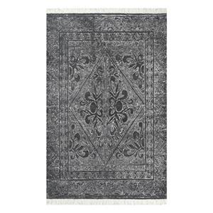nuLOOM Nidia Fleur-De-Lis Tassel 4-ft x 6-ft Dark Grey Area Rug