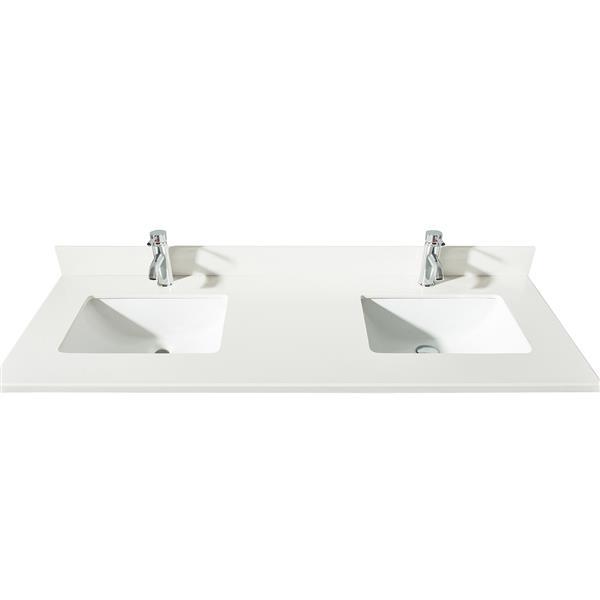 GEF Meuble-lavabo Catalina avec comptoir en quartz , 60 po. noyer