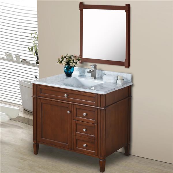 GEF Meuble-lavabo Catalina avec comptoir en marbre , 36 po. noyer