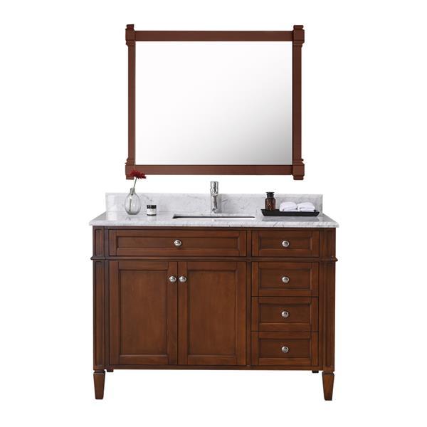 GEF Meuble-lavabo Catalina avec comptoir en marbre , 42 po. noyer