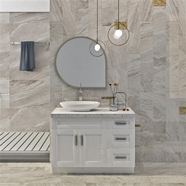 "Meuble-lavabo 45"", blanc perle"