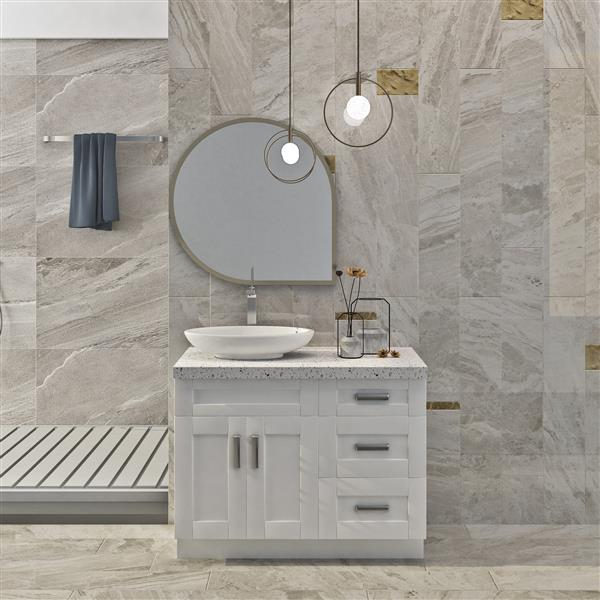 "Meuble-lavabo 42"", blanc perle"