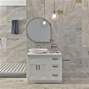 "Meuble-lavabo 39"", blanc perle"