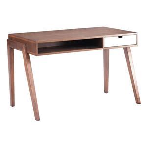 Bureau en bois Linea de Zuo Modern, tiroir intégré, 46 po x 30,3 po, noyer