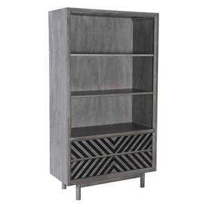 Bibliothèque Raven de Zuo Modern, 35,4 po x 63 po, bois d'hévéa, gris