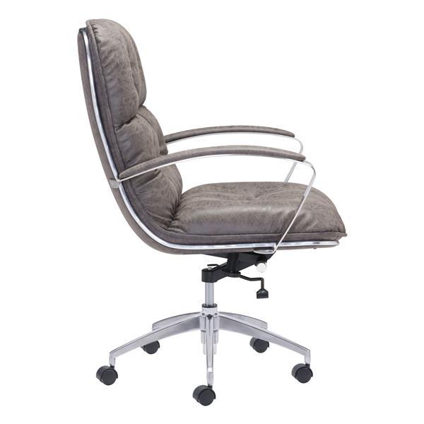 Chaise de bureau Avenue de Zuo Modern, 22 po x 20,9 po, simili-cuir, gris vintage