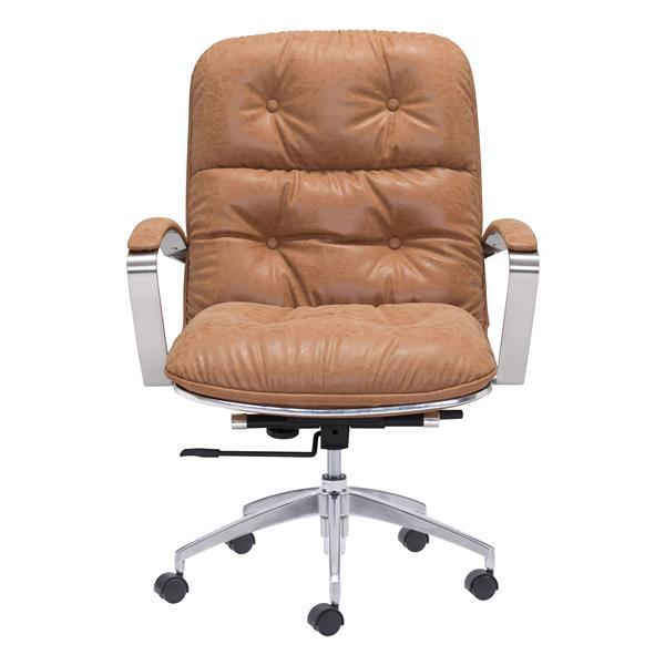 Chaise de bureau Avenue de Zuo Modern, 22 po x 20,9 po, simili-cuir, beige