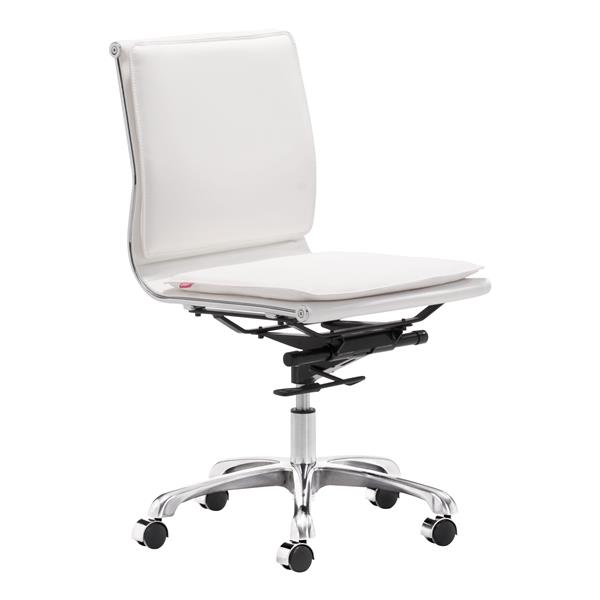 Chaise de bureau Lider de Zuo Modern, 19,5 po x 23,4 po, simili-cuir, blanc