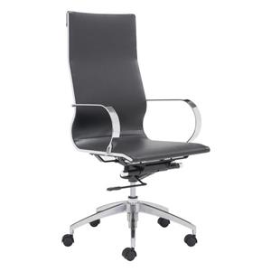 Zuo Modern Glider Office Chair - 18-in - 20.4-in - Faux Leather - Black