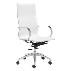 Chaise de bureau Glider de Zuo Modern, 18 po x 20,4 po, simili-cuir, blanc