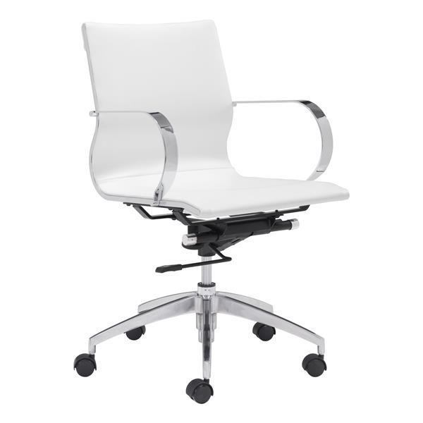 Zuo Modern Glider Office Chair - 18-in - 20.1-in - Faux Leather - White