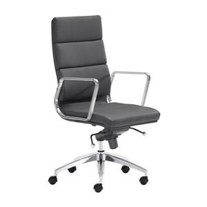 "Chaise de bureau Engineer, 18,5"" x 20"", similicuir, noir"