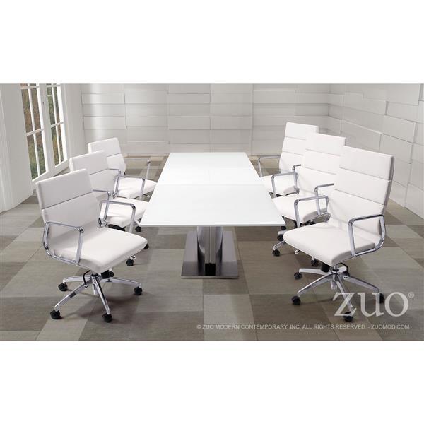 Chaise de bureau Engineer de Zuo Modern, 18,5 po x 24,5 po, simili-cuir, blanc