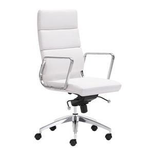 "Chaise de bureau Engineer, 18,5"" x 20"", similicuir, blanc"