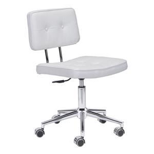 Chaise de bureau Series de Zuo Modern, 18,5 po x 23,3 po, simili-cuir, blanc