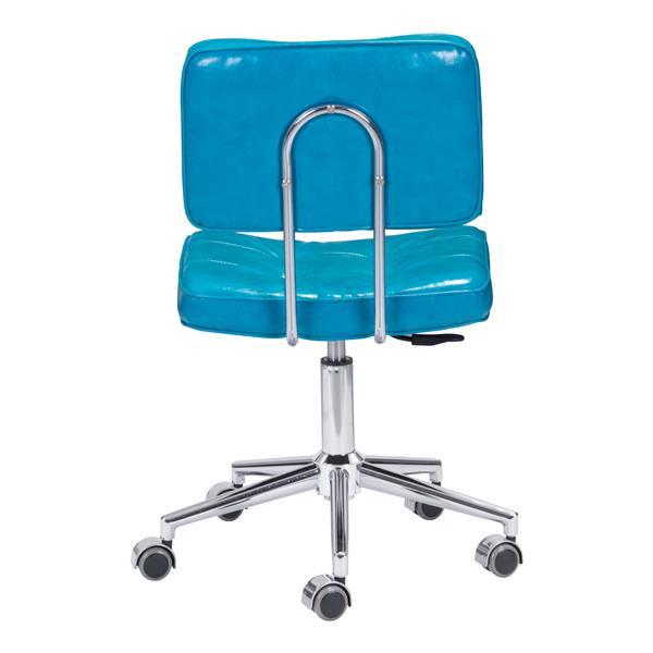Chaise de bureau Series de Zuo Modern, 18,5 po x 23,3 po, simili-cuir, bleu