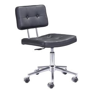 Chaise de bureau Series de Zuo Modern, 18,5 po x 23,3 po, simili-cuir, noir