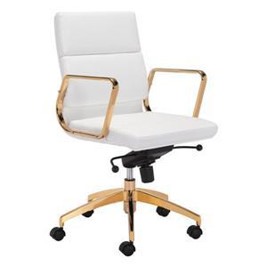 Chaise de bureau Scientist de Zuo Modern, 18,9 po x 21,3 po, blanc et or