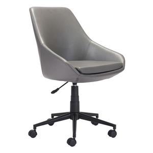 Chaise de bureau rembourrée Powell de Zuo Modern, 18,5 po x 21,2 po, gris