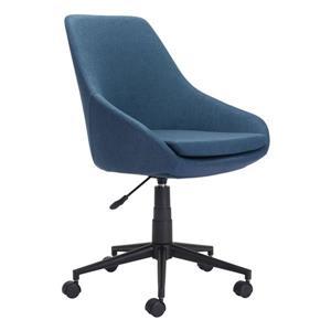 Chaise de bureau rembourrée Powell de Zuo Modern, 18,5 po x 21,2 po, bleu