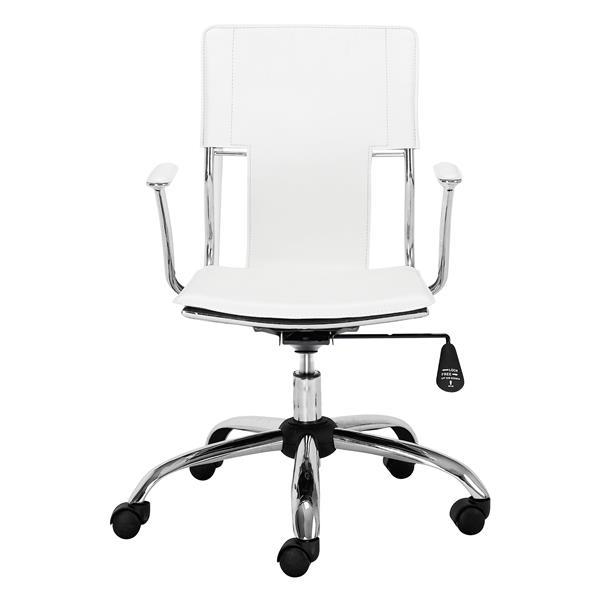 Chaise de bureau Trafico de Zuo Modern, 17 po x 21 po, simili-cuir, blanc