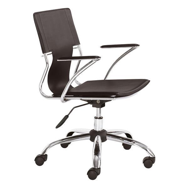 Chaise de bureau Trafico de Zuo Modern, 17 po x 21 po, simili-cuir, espresso