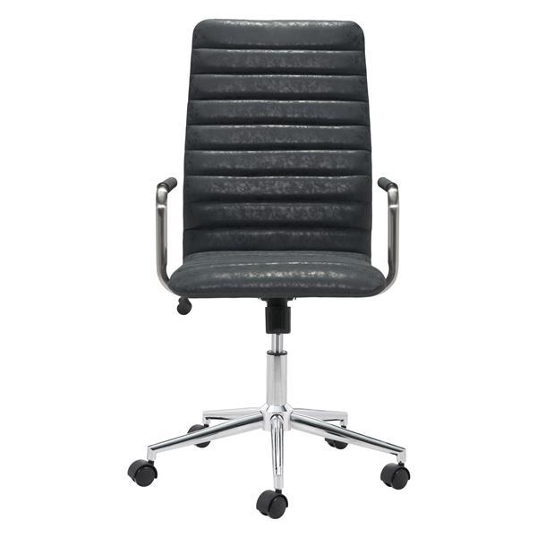 Chaise de bureau Pivot de Zuo Modern, 18,9 po x 21,6 po, simili-cuir, noir