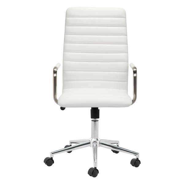 Chaise de bureau Pivot de Zuo Modern, 18,9 po x 21,6 po, simili-cuir, blanc