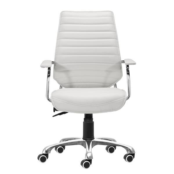 Chaise de bureau Enterprise de Zuo Modern, 19,5 po x 20,5 po, simili-cuir, blanc