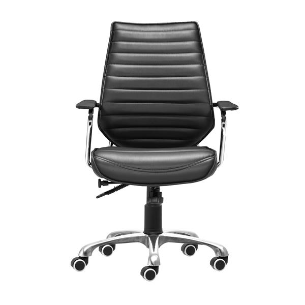 Zuo Modern Enterprise Office Chair - 20.5-in - Faux Leather - Black