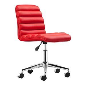 Chaise de bureau Admire de Zuo Modern, 20,5 po x 18,5 po, simili-cuir, rouge