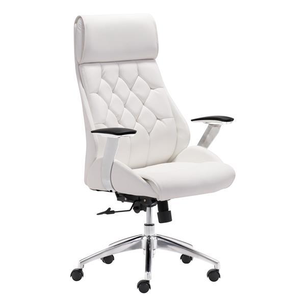 Chaise de bureau Boutique de Zuo Modern, 19,7 po x 18 po, simili-cuir, blanc