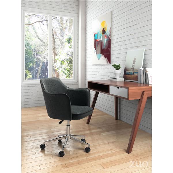 Chaise de bureau Keen de Zuo Modern, 17,7 po x 20,1 po, simili-cuir, noir
